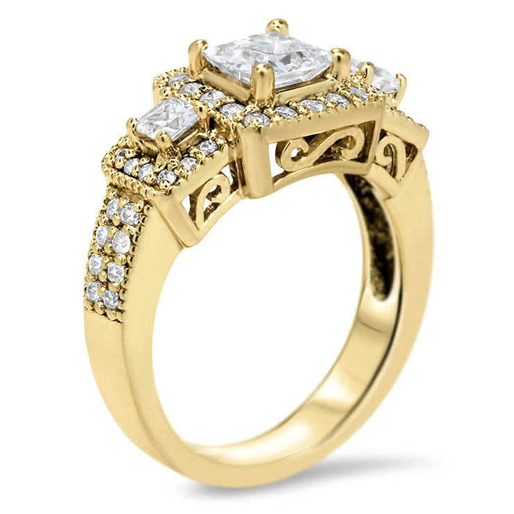 Vintage Style Engagement Ring 3-Stone Halo - Honey - Moissanite Rings