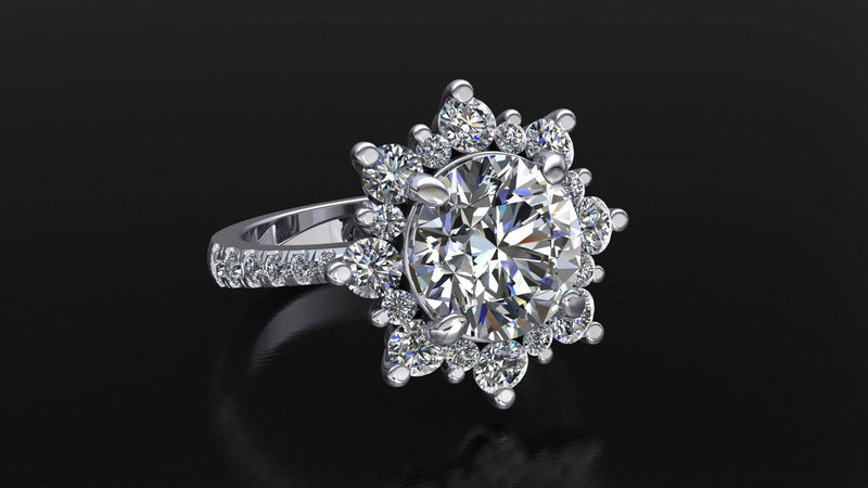 Payment 2   3ct Snowflake Engagement Ring and Wedding Band - Moissanite Rings