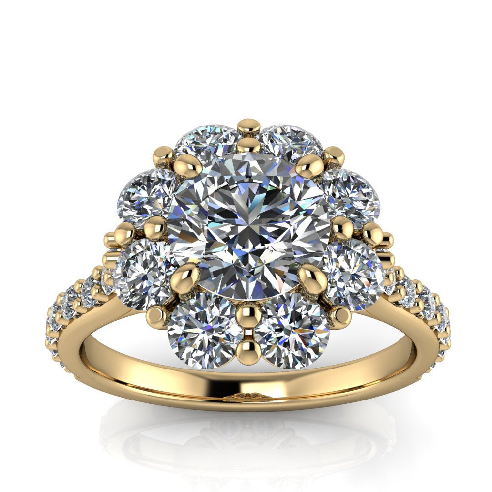 Floral Style Moissanite and Diamond Engagement Ring - Bouquet - Moissanite Rings