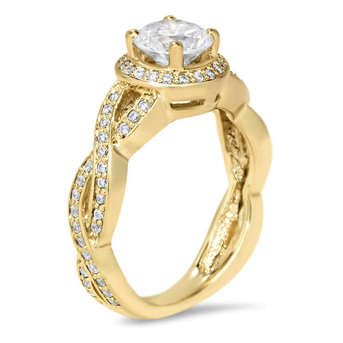 Infinity Band Engagement Ring Diamond Halo - Triumph - Moissanite Rings