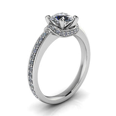 Draped Halo Engagement Ring - Harrison - Moissanite Rings