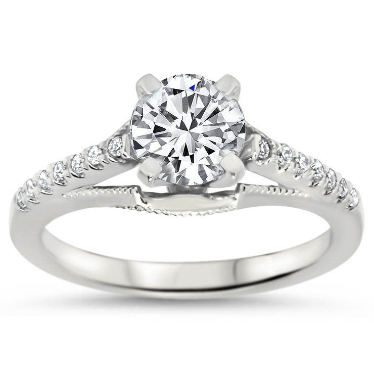 Vintage Style Engagement Ring Diamond Setting and Forever One Center - Pamela - Moissanite Rings
