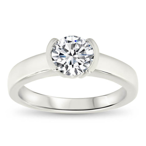Half Bezel Set Moissanite Engagement Ring - Mia - Moissanite Rings