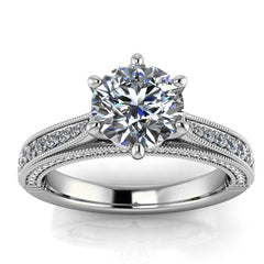 Six Prong Cathedral Diamond Engagement Ring Setting Moissanite Center - Adriel - Moissanite Rings