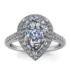 Pear Cut Engagement Ring Moissanite Center Diamond Setting - Chrissy