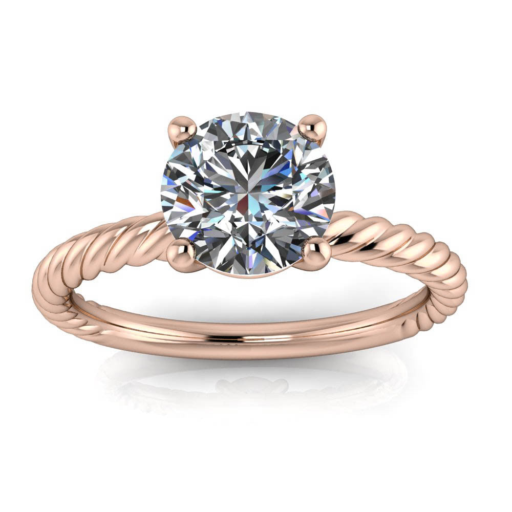 Rope Band Engagement Ring Forever One Moissanite
