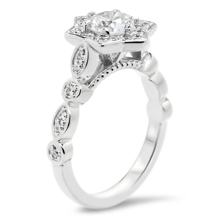Unique Star-like Diamond Halo Forever One Moissanite Engagement Ring - Sabrina - Moissanite Rings