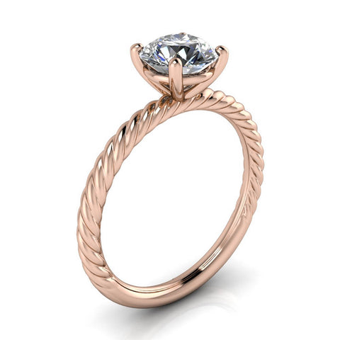 Rope Band Engagement Ring Forever One Moissanite - Sailor 7mm - Moissanite Rings
