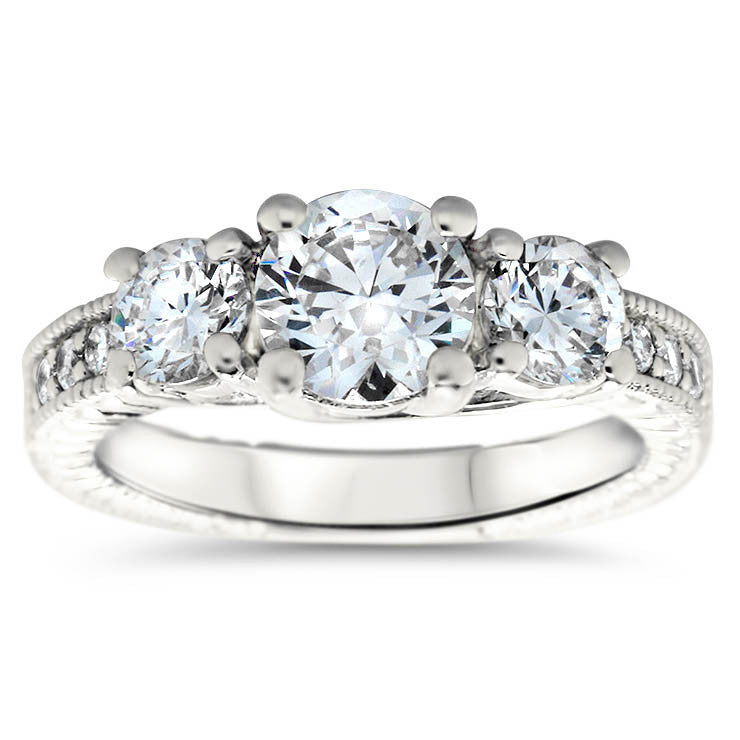 Three Stone Engagement Ring - Axel - Moissanite Rings
