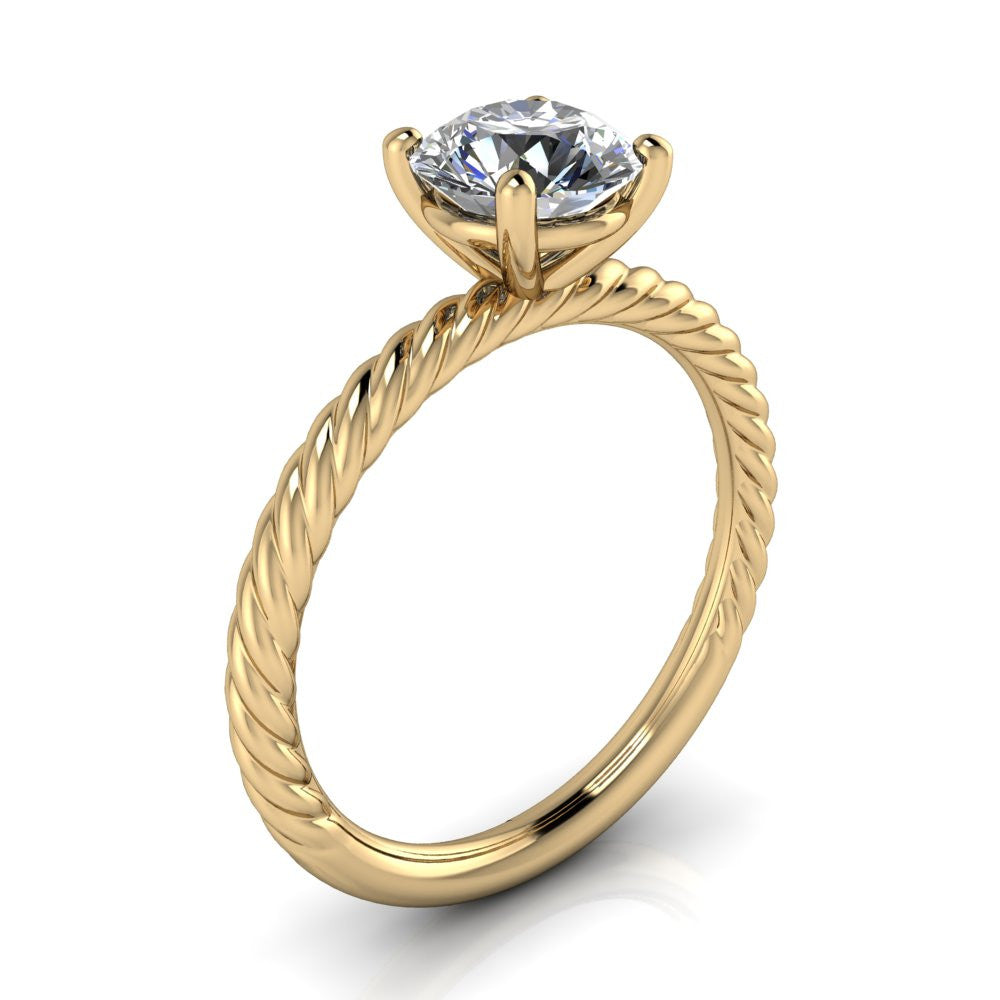 Engagement Rings With Moissanite: Rope Band Engagement Ring Forever One Moissanite