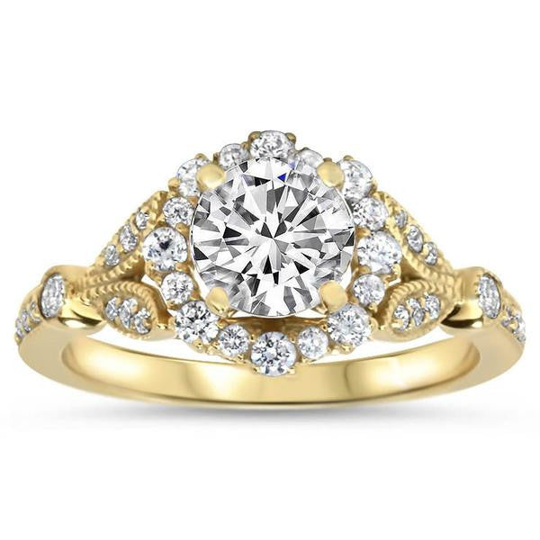 Payment 2 Vintage Floral Style Halo Diamond and Moissanite Engagement Ring - Lilly RP - Moissanite Rings