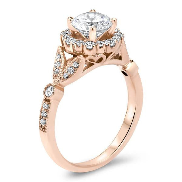Vintage Floral Style Halo Engagement Ring Lilly – Moissanite Rings