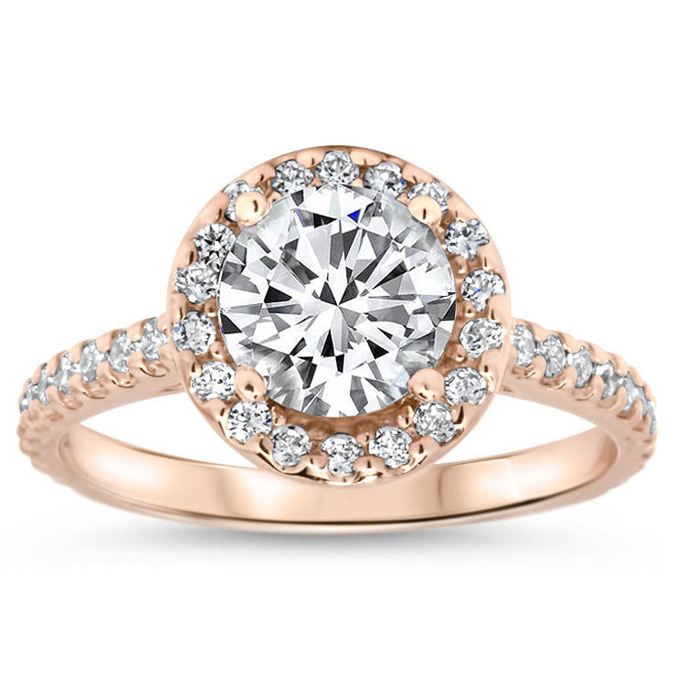 Forever One Moissanite Classic Diamond Halo Engagement Ring - Rae - Moissanite Rings