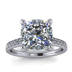 Large Cushion Moissanite Engagement Ring Thin Diamond Band- Alexa Cushion - Moissanite Rings