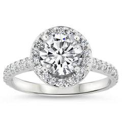 Forever One Moissanite Classic Diamond Halo Engagement Ring - Rae 7.5 mm - Moissanite Rings