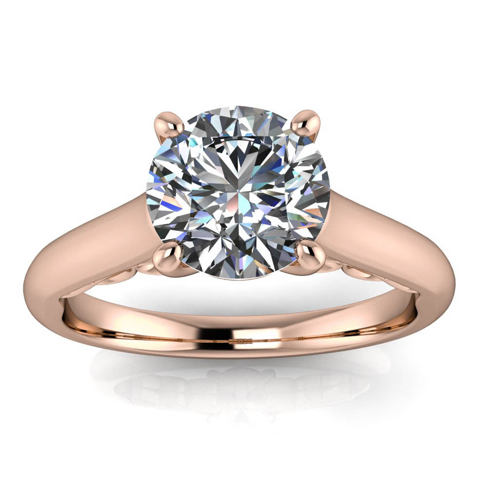 Engagement Rings With Moissanite: Fancy Solitaire Engagement Ring Moissanite Center Stone