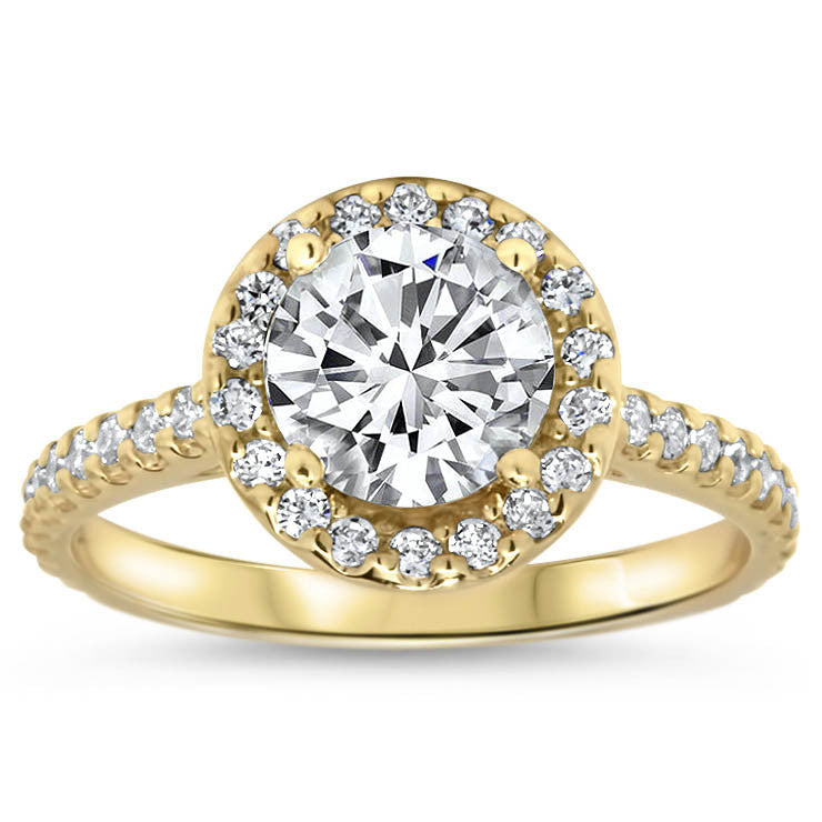 Classic Halo Engagement Ring - Rae - Moissanite Rings