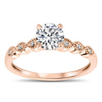 Thin Diamond Band Engagement Ring - Dainty Drops - Moissanite Rings