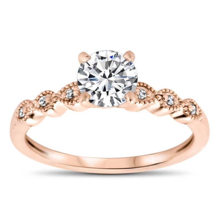 Thin Diamond Band Wedding Set - Dainty Drops Wedding Set - Moissanite Rings