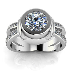 Split Shank Bezel Set Engagement Ring - Oscar
