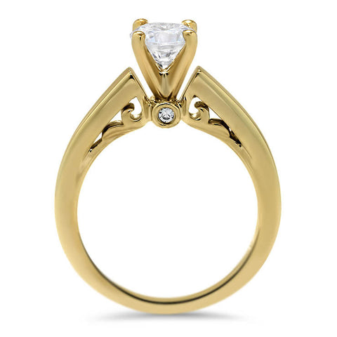 Surprise Moissanite Diamond Solitaire Engagement Ring - Sharpei - Moissanite Rings