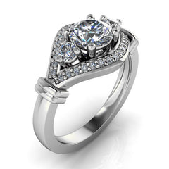Unique Halo Three Stone Engagement Ring - Leona - Moissanite Rings