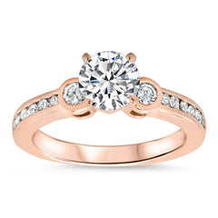 Bezel Set Diamond Accented Engagement Ring - Bianca Set - Moissanite Rings