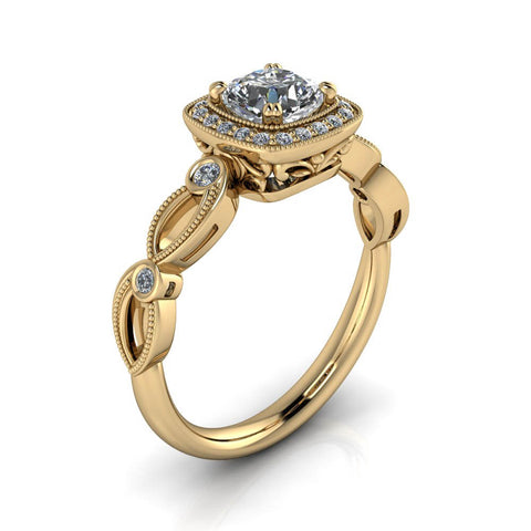 Unique Halo Engagement Ring - Adela