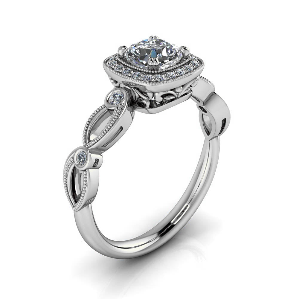 Unique Halo Engagement Ring - Adela - Moissanite Rings