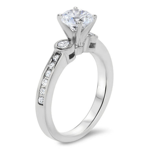 Forever One Moissanite Bezel Set Diamond Side Stone Engagement Ring - Bianca - Moissanite Rings