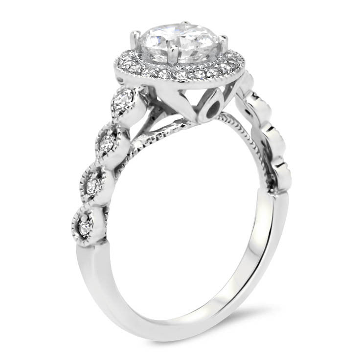 Vintage Style Diamond Halo Moissanite Engagement Ring - Venus - Moissanite Rings