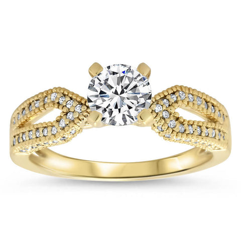 Diamond Accented Engagement Ring - Bit