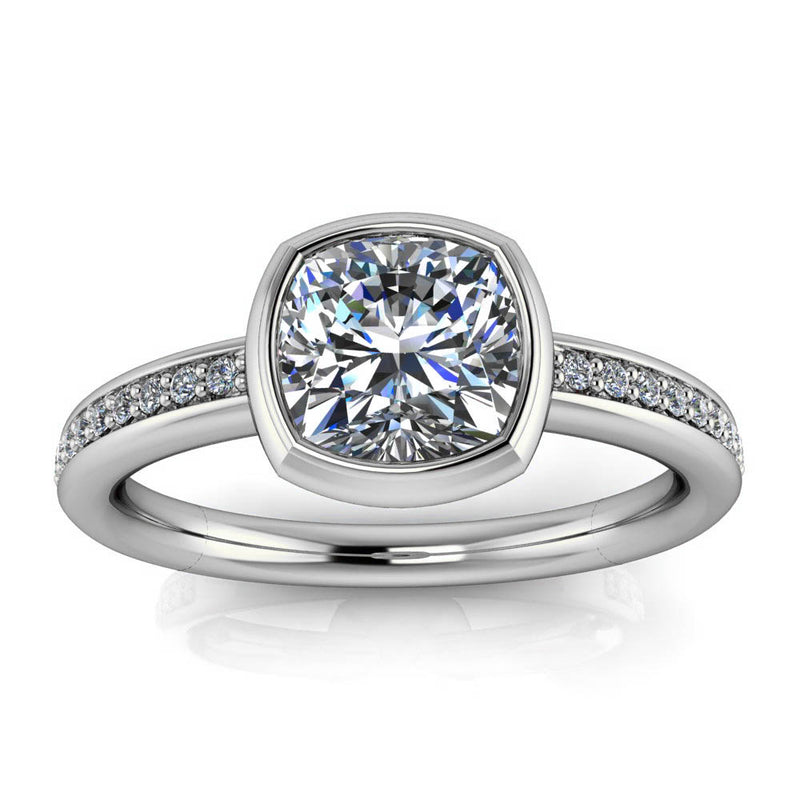 Bezel Set Engagement Ring Cushion Cut - Grata 7mm - Moissanite Rings