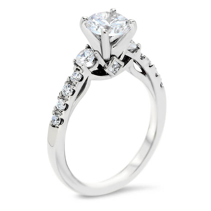 Diamond Accented Forever One Engagement Ring -  Carmella - Moissanite Rings