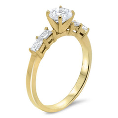 Straight Diamond Baguette Engagement Ring - Julia - Moissanite Rings