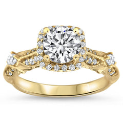 Antique Style Moissanite Engagement Ring Diamond Setting - Tressa - Moissanite Rings