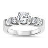 Bar Set Diamond Engagement Ring Forever One Moissanite Center - Amore - Moissanite Rings