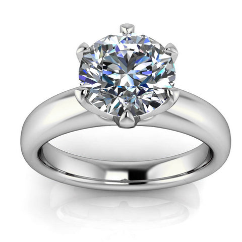 Six Prong Solitaire Engagement Ring Moissanite Engagement Ring - Cupcake