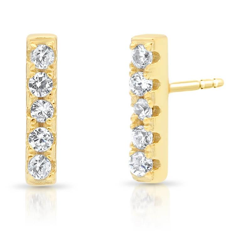 Dainty Diamond Bar Earrings