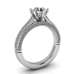 Six Prong Cathedral Diamond Engagement Ring Setting Moissanite Center - Adriel