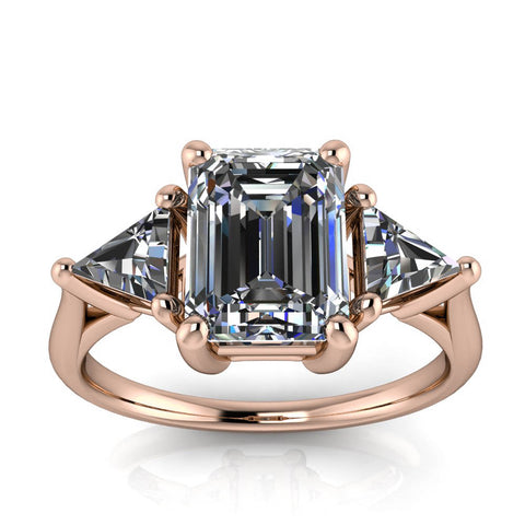 Three Stone Engagement Ring Emerald Cut - Simona