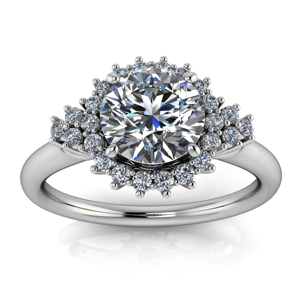 Cluster Halo Engagement Ring Setting Moissanite Center - Gianna - Moissanite Rings