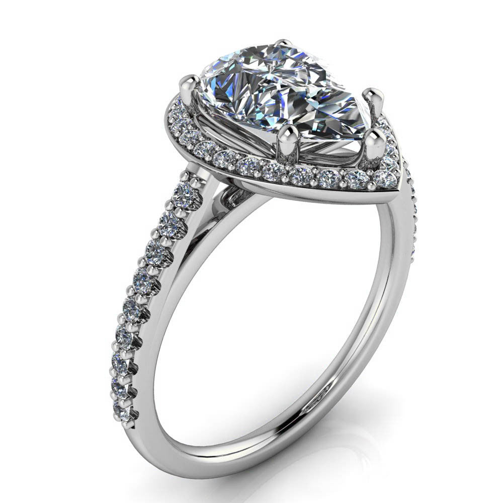 Pear Cut Engagement Ring Moissanite Center Diamond Setting - Chrissy - Moissanite Rings