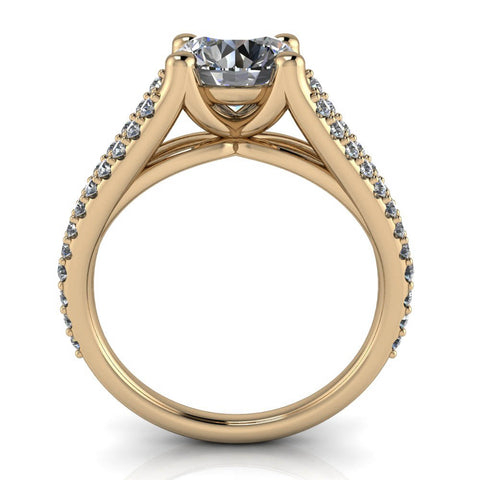 Split Shank Pave Engagement Ring - Coral