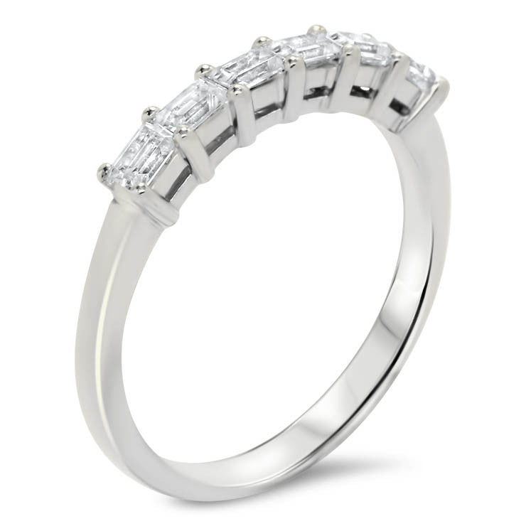 Straight Diamond Baguette Wedding Band - Julia Band - Moissanite Rings