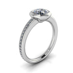Bezel Set Engagement Ring Cushion Cut - Grata - Moissanite Rings