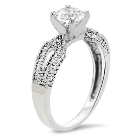 Diamond Accented Engagement Ring and Wedding Band - Bit Wedding Set - Moissanite Rings