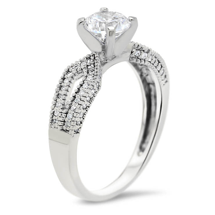 Diamond Accented Moissanite Engagement Ring - Bit - Moissanite Rings