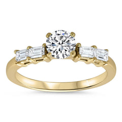 Straight Diamond Baguette Engagement Ring - Julia