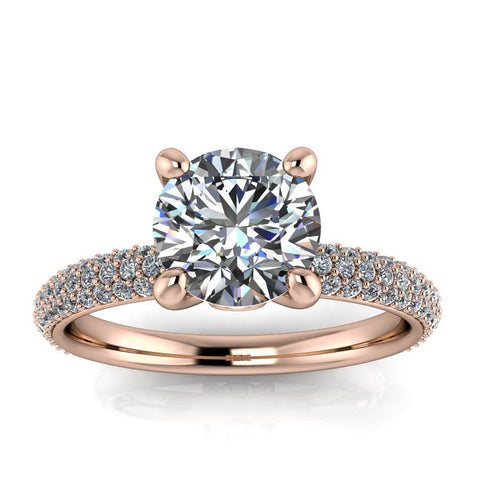 Diamond Pave Engagement Ring Moissanite Center - Beata - Moissanite Rings